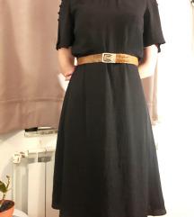 H&M midi crna haljina s ljubičastim točkicama 36 S