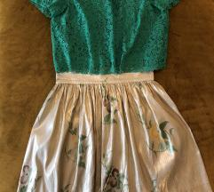 Komplet-Zara bluzica i sivana suknja