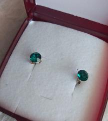 Original Srebrne naušnice sa zelenim cirkonom