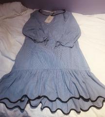Zara mini haljina prugasta s volanima M