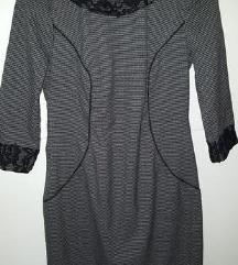 Siva haljina sa cipkastim detaljima S/M