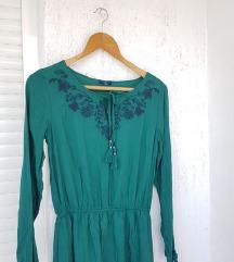 TOM TAILOR zelena izvezena haljina / boho