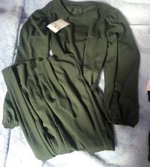 Zara zelena midi haljina M