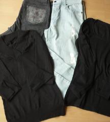 Jeans hlače, 2 kom.+crna majica, 2 kom., L
