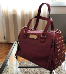 Roza handbag torba sa zlatnim zakovicama