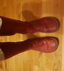 Čizme kožne crvene