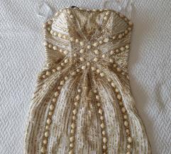 Kratka haljina zlatna i bojela boja bjelokosti