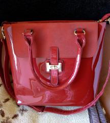 Crvena velika lakirana torba/novo