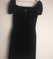 Tamnoplava pliš haljina