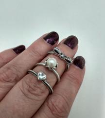 3 original Pandora prstena, srebro 925