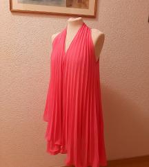 Plisirana, pink haljina, veličina S-M