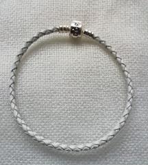 Pandora kožna bijela narukvica, nova, 19 cm