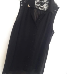 Crna bluza čipkana na leđima, nosena 2 puta, M-XL