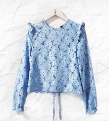H&M  baby plava crochet bluza
