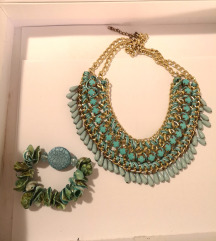 Tirkizni set / komplet, ogrlica i narukvica