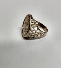 Stari prsten Sveti Juraj i zmaj, pozlaceno srebro