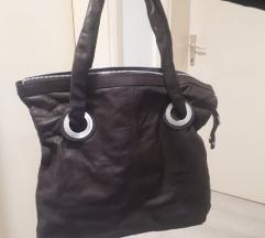 Tamnosmeda kozna torba