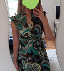 Ljetna, šarena zeleno-smeđa haljina