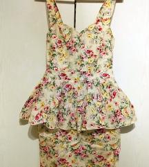 Cvjetna bandage haljina s volanima, S, 36