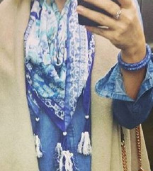 Fracomina plavi svilenkasti šal