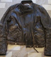ZARA tamno smeđa kožna jakna