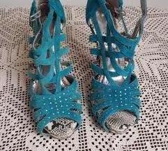 Plave sandale od brušene kože