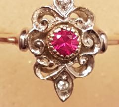 REZZ Vintage prsten zlato,rubin,briljant