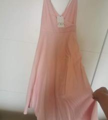 Zara maxi roza, otvorena leđa i mašna XL-3XL