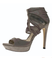 Fendi beige suede and fabric ankle wrap platform
