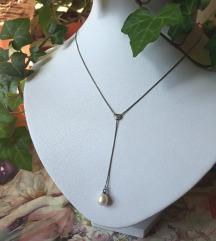 Ogrlica s biserom srebro 925