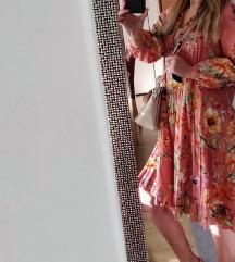 Zara pink floral dress/haljina S Novo