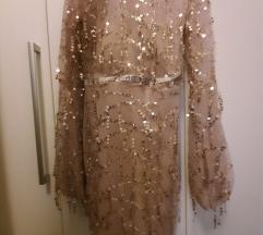 Zlatna midi haljina novo
