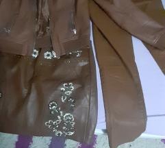Lot kòžne hlače jakna suknja M free pack