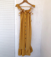 Žuta uska bohemian haljina s volanima