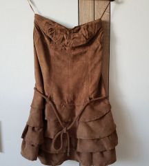 Ženska haljina bez naremenica Stradivarius, smeđa