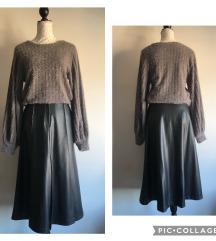 Nova Zara kožna suknja i fuzzy cropped vesta