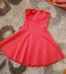 Točkasta haljina bez naramenica