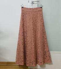 Zara nude čipkana suknja