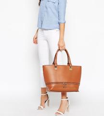 Velika smeđa tote torba sa zip detaljima