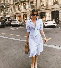 ZARA plava prugasta haljina košulja vel M