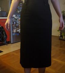 Duga crna vintage vunena suknja
