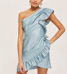 TOPSHOP Metalik plava mini haljina