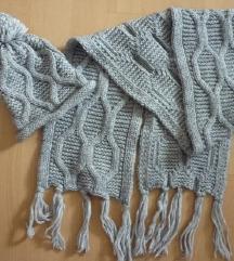 Novi C&A pleteni šal + kapa, one size, 200 cm