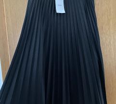 Midi suknja od umjetne kože s prorezom
