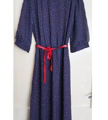 Nova vintage plava polka dot haljina vel. M
