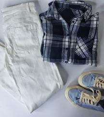 LOT - bijele hlače i karirana košulja
