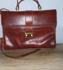 Kožna vintage torba konjak boje