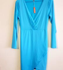 Ženska elegantna koktel plava haljina (nenošeno)