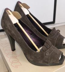 Cipele tamno sive brušena koža