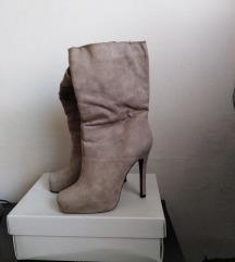 Sive čizme od brušene kože 37
